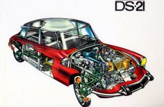 Citroen DS 21 cutaway drawing