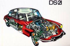 Citroen DS 21 cutaway drawing