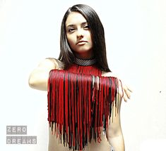 A personal favorite from my Etsy shop https://www.etsy.com/listing/577926271/red-fringe-collar-choker-fringe-necklace
