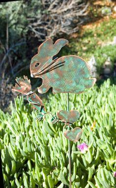 BUNNY RABBIT Garden Planter Stake Metal Copper Yard Art Outdoor Plant Spike