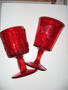 BEAUTIFUL RUBY RED Glass  Goblets Pressed Depression Glass Grapes Fruit