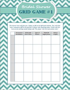 FREE Bridal Shower Grid Game (Grid) | Buy at Wedding Favors Unlimited (https://www.weddingfavorsunlimited.com/free_bridal_shower_grid_game.html).