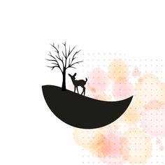Panoramastanze Reh mit Baum