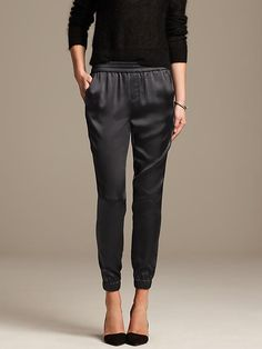 Banana Republic Shine Drapey Pant - Silky coal