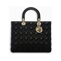 7d62eb97a413 LARGE LADY DIOR BAG IN BLACK LAMBSKIN via Polyvore featuring bags