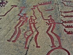 Tanum by summoning_ifrit on Flickr.Supposed twin gods in battle-axe fight from the rock carvings at Tanum (around Tanumshede), a Nordic Bron...