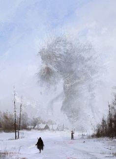 another day at work... Ded Moroz, Jakub Rozalski on ArtStation at https://www.artstation.com/artwork/another-day-at-work-ded-moroz