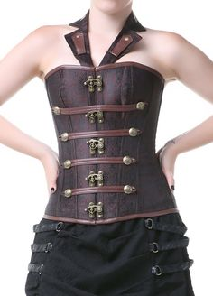 720a56afa52 Brown Punk Gothic Espartilhos E Corpetes Sexy Korset Waist Trainer Corsets  And Bustiers Steampunk Overbust Halter Corset Tops