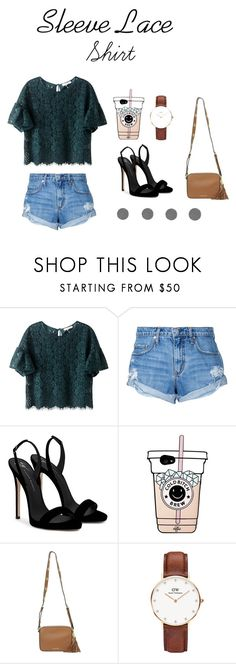 """Sleeve Lace Shirt"" by salmanabilaaah on Polyvore featuring Nobody Denim, Giuseppe Zanotti, MICHAEL Michael Kors, Daniel Wellington, lace, girl and sleeve"