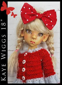 "SWEATER, Hair Bow & Stockings for KAYE WIGGS 18"" MSD by Maggie and Kate Create"