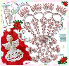 christmas ornamnent - Her Crochet Crochet Christmas Decorations, Christmas Crochet Patterns, Crochet Christmas Ornaments, Crochet Snowflakes, Holiday Crochet, Christmas Angels, Crochet Angel Pattern, Crochet Diagram, Crochet Patterns Amigurumi