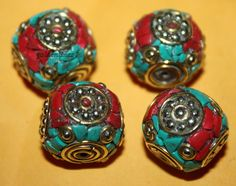 Nepalese Tibetan turquoise beads coral Beads 4 by goldenlines