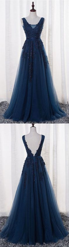 Elegant Prom Dress, Tulle Prom Dress, Appliques Beaded Prom Dress,A Line Prom Dress,Long Evening Dress,Formal Evening Gown,380