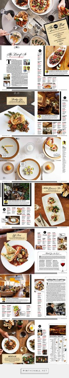 """Art direction and design for """"The Best New Restaurants"""" June 2013 issue of San Diego Magazine. Photography by Dhanraj Emanuel. Menu Design, Tool Design, Magazine Layout Design, Editorial Design, Typo, Art Direction, Design Elements, San Diego, Magazines"""