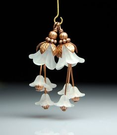 Vintage Style White Frost Lucite Flower Dangles pair C193