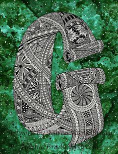 ACEO Open Edition arte stampa, La lettera G...    Ho cominciato la mia ricerca per completare una serie di alfabeto zentangle su 18/09/2010 e finito