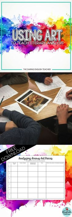 Use art to teach students about literary analysis. Teaching Strategies, Teaching Writing, Teaching Tools, Teaching English, Teaching Resources, Teaching Ideas, Classroom Resources, Middle School Ela, Middle School English