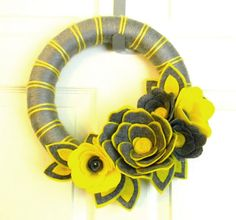 Sunshine on a Cloudy Day: 12 inch Felt and Yarn Wreath