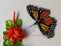 A Journey into Quilling & Paper Crafting: Quilled Monarch Butterfly Closeup