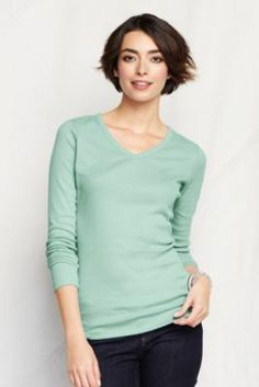 Women's Long Sleeve Shaped 1x1 Rib V-neck T-shirt from Lands' End