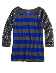 Sequin Sleeve Striped Tee. Perfect for weekend wear.
