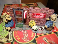 Boyd's Bears Figurines on Coca Cola Placemat Pepsi, Coke, Coca Cola Decor, Boyds Bears, Placemat, Child, Collection, Vintage, Nostalgia