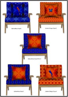 Azure blue and bright orange Flower designs with butterfly and bird,  for textiles upholstery and interiors, fashion fabrics and more.
