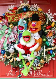 Large custom-made The Muppets Merry Christmas Wreath featuring Kermit, Fozzie and Gonzo.