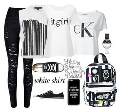 """""""The White Shirts"""" by im-angelacoleen ❤ liked on Polyvore featuring WithChic, Alexander Wang, Converse, Casetify, Calvin Klein Jeans, Current Mood, Marc Jacobs and WardrobeStaples"""