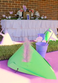 DIY elf hats. Fairy Birthday party table and cake table. Printable party decorations by Love That Party. www.love thatparty.com.au