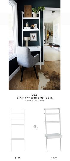 CB2 Stairway White Desk for $399 vs Crate & Barrel Sawyer White Leaning Desk for $179 @copycatchic look for less budget home decor and design chic find