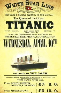 RMS Titanic - White Star Line - Trans-Atlantic Crossing - Vintage Advertising Poster - Departing April 1912