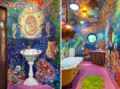 13 Bathrooms You Will Instantly Fall In Love With. The Hammock Tub Is Unlike Anything - Dose - Your Daily Dose of Amazing / yellow submarine bathroom Mosaic Bathroom, Bathroom Kids, Colorful Bathroom, Pirate Bathroom, Mosaic Tiles, Master Bathroom, Modern Bathroom Design, Bath Design, Bathroom Designs