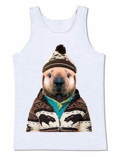 camiseta gorro roupa peruana blusa lontra animal lã