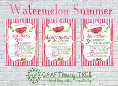Watermelon Picnic/Birthday Personalized Birthday Invitation by Craftberrytree on Etsy https://www.etsy.com/listing/450643834/watermelon-picnicbirthday-personalized