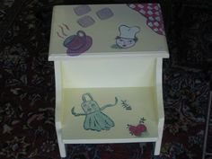 Step up Stool with Storage  Hand Painted