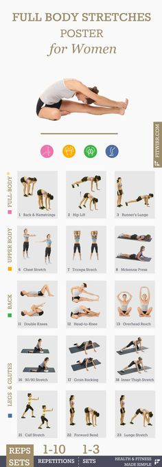Full-body stretches poster for women. #stretches #flexibilityexercises