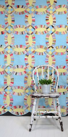 Vintage Double Wedding Ring Quilt Blue and Yellow