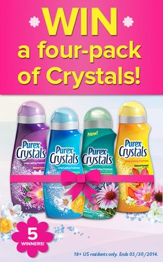 WIN a four-pack of @Purex Crystals laundry enhancer in the Scent-sational Spring sweepstakes on Pinterest! #ScentsationalSpringWithPurex