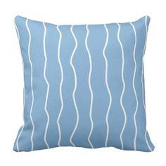 Stripes Pattern Beach Blue Throw Pillow - customizable diy