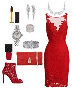 """Lady in Red"" by spycred1 on Polyvore featuring Dolce&Gabbana, ML Monique Lhuillier, Gucci, Kevyn Aucoin, Effy Jewelry, Palm Beach Jewelry and Van Cleef & Arpels"