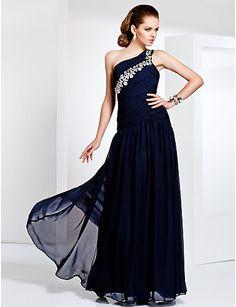 One Shoulder Floor-length Chiffon Evening Dress - USD $ 199.99