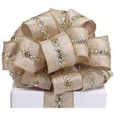 Khaki and Silver Embellished Ribbon Yards) Christmas Ribbon, Silver Christmas, Christmas Elf, Christmas Crafts, Holiday, Glitter Ribbon, Green Glitter, Wired Ribbon, Ribbon Bows