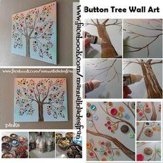 Para decorar nuestra habitación un cuadro hecho con botones