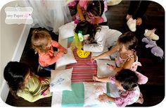Let little kids design own pillows at Princess PJ party - cute crafty party idea
