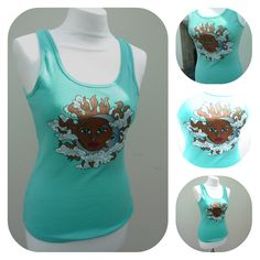 Celestial Sun and Moon Hand Painted T-shirt Vest Size 10 UK £10.00