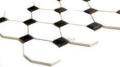 Long Octagon Porcelain Mosaic, Black, White by tiledaily