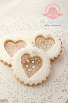 Stencil heart icing cookies