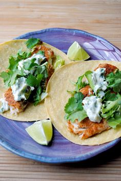 Fish Tacos with Lime-Cilantro Crema (I use flour tortillas and like to add shredded cabbage. I also put a little celery seed in the sour cream sauce)