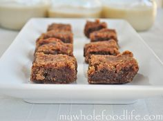Soft and Gooey Grain Free Blondies with no sugar added.  Use almond, coconut, or cashew milk.